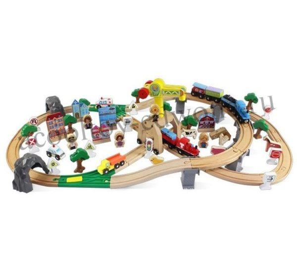Деревянная железная дорога EDWONE E17P00 110 деталей