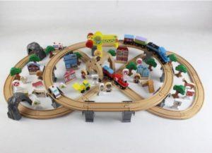 Деревянная железная дорога EDWONE E17P01 110 деталей