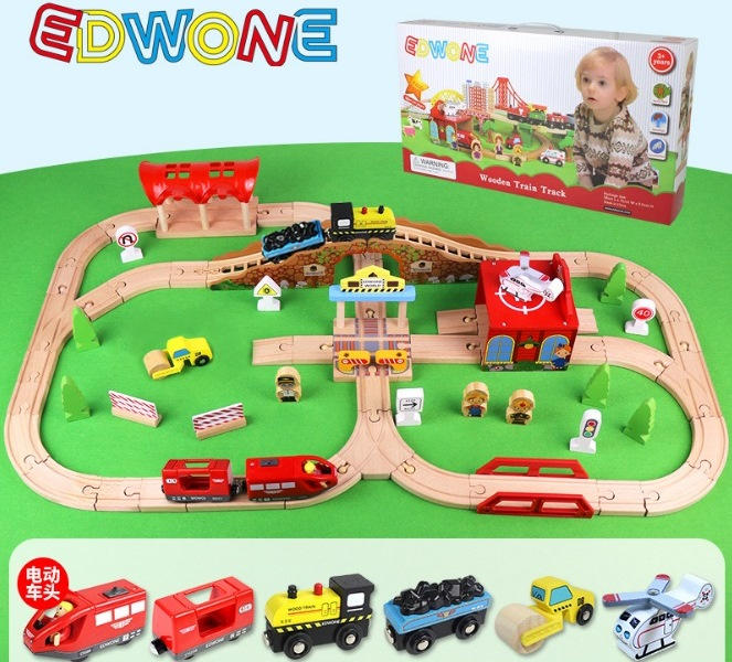 Деревянная железная дорога EDWONE E18A11 80 деталей