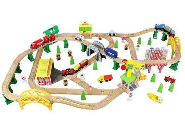 Деревянная железная дорога EDWONE «Большой город» 146 деталей