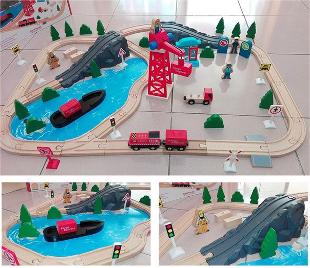 Деревянная железная дорога AcoolToy AC7521 Грузовой Порт 80 деталей