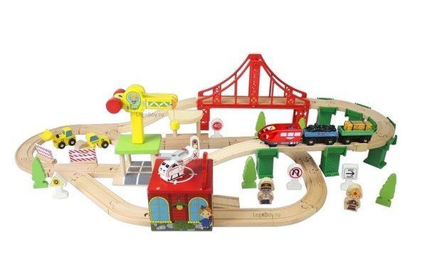 Деревянная железная дорога EDWONE E18A12 80 деталей