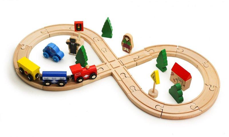 Деревянная железная дорога Train Track 32 детали