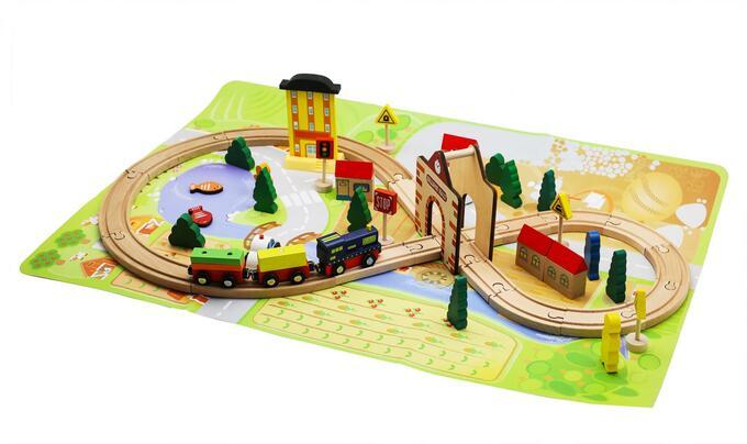 Деревянная железная дорога Track train 54 детали