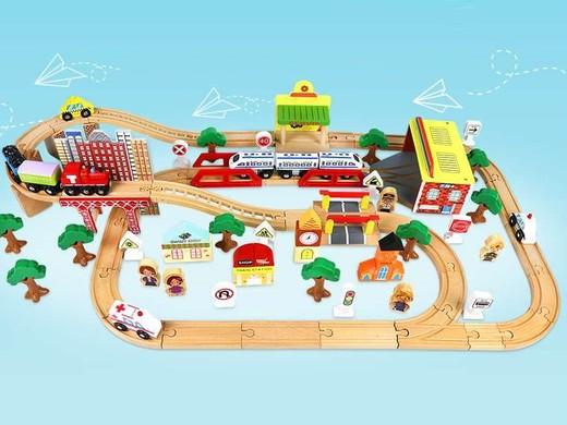 Деревянная железная дорога EDWONE E17P05 110 деталей