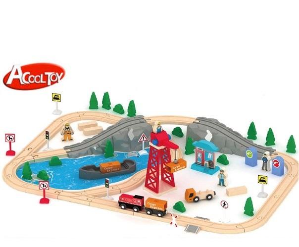 Деревянная железная дорога AcoolToy AC7521 Грузовой Порт, 80 деталей