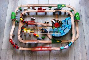 Деревянная железная дорога EDWONE «Мегаполис», 168 деталей