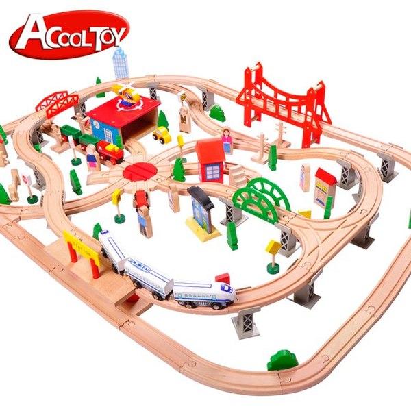 Деревянная железная дорога AcoolToy AC7502 130 деталей