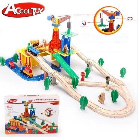 Деревянная железная дорога AcoolToy AC7501 Грузовой терминал, 80 деталей