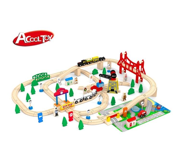 Деревянная железная дорога AcoolToy AC7507 100 деталей