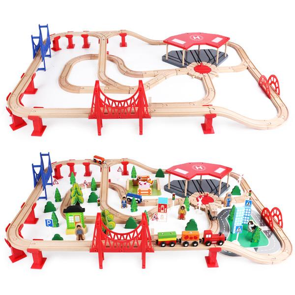 Деревянная железная дорога Wooden Train Set TQ-1705 140 деталей