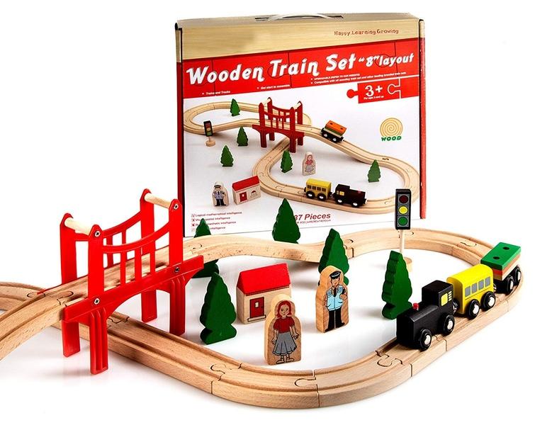Деревянная железная дорога AcoolToy AC7504 Восьмёрка, 37 деталей