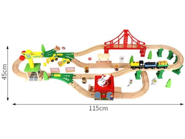 Деревянная железная дорога EDWONE E18A12A 84 детали габариты